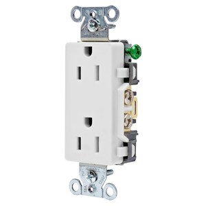 Hubbell-Kellems DR15WHI Decora Duplex Receptacle, 15A, 125V, 5-15R, White