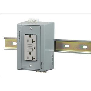 Hubbell-Kellems DRUBGFI20 DIN Rail Utility Box, 20A Gray GFCI Receptacle