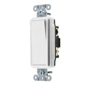 Hubbell-Kellems DS315W Decora Switch, 15A, 120/277V, White
