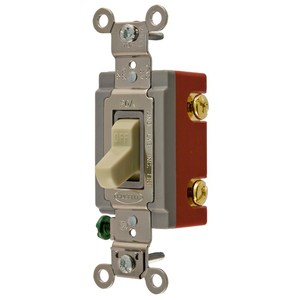 Hubbell-Kellems HBL1221I Single Pole Switch, 15A, 120/277V, Ivory, Extra Heavy Duty