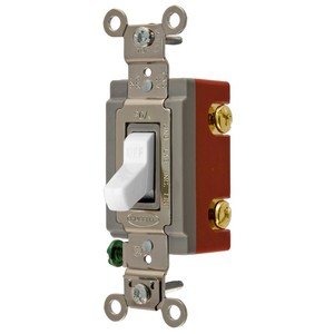 Hubbell-Kellems HBL1221W Single-Pole Switch, 20A, 120-277V, White, Heavy Duty