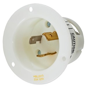 Hubbell-Kellems HBL2315 Locking Flanged Inlet, 20A, 125V, L5-20, White