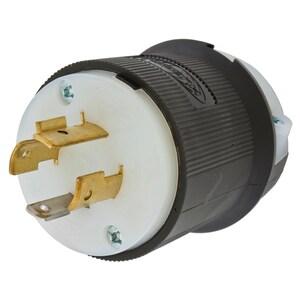 Hubbell-Kellems HBL2411 Twist-Lock Plug, 20A, 125/250V, L14-20P, 3P4W, Black/White