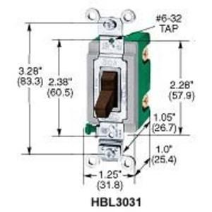 Hubbell-Kellems HBL3031I Single-Pole Switch, 30A, 120/277V, Industrial Grade, Ivory