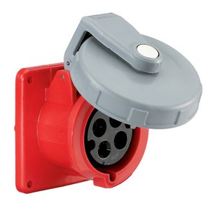 Hubbell-Kellems HBL430R7W Pin & Sleeve Receptacle, 30A, 3PH Delta 480V, 3P4W, Red