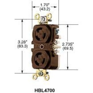 Hubbell-Kellems HBL4700 Locking Duplex Receptacle, 15A, 125V, L5-15R, Brown