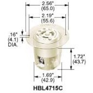 Hubbell-Kellems HBL4715C Locking Receptacle, 15A, 125V, L5-15R, 2P3W, Flanged, White