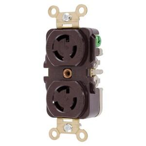 Hubbell-Kellems HBL4750 Locking Duplex Receptacle, 15A, 277V, L7-15R, Brown