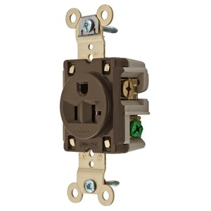 Hubbell-Kellems HBL5361 Single Receptacle, 20A, 125V, 5-20R, Brown