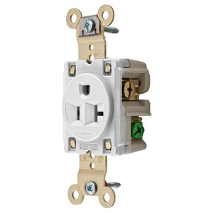 Hubbell-Kellems HBL5361W Single Receptacle, 15A, 250V, 6-15R, White