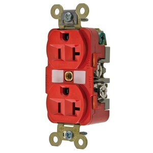 Hubbell-Kellems HBL5362R Duplex Receptacle, 20A, 125V, 5-20R, Red