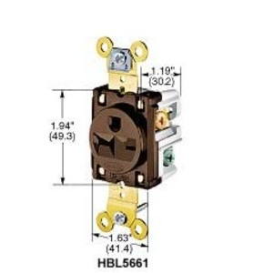 Hubbell-Kellems HBL5461I Single Receptacle, 20A, 250V, Ivory, 6-20R, 2P3W
