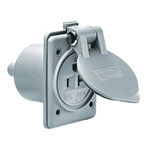 Hubbell-Kellems HBL61CM65 Marine Hull Outlet, 20a 125v, 5-20r, Gy