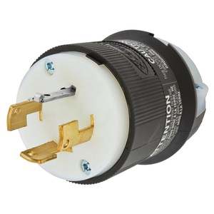 Hubbell-Kellems HBL7411C Locking Plug, Non-NEMA, 20A, 3PH 120/208V, Black/White