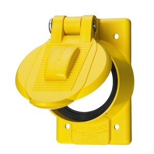 Hubbell-Kellems HBL77CM74WO 1-Gang, For 50A Receptacles, FS/FD Mount, Yellow Polycarbonate
