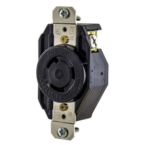 Hubbell-Kellems L520R Locking Single Receptacle, 20A, 125V, 2P3W