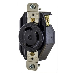 Hubbell-Kellems L630R Locking Receptacle, 30A, 250V. L6-30R, 2P3W