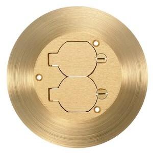 "Hubbell-Kellems SF3925 Combo Cover/Carpet Flange, Round, Diameter: 6.25"", Duplex, Brass"
