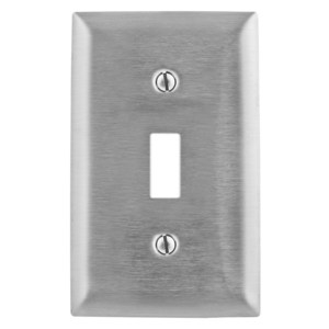 Hubbell-Kellems SS1 Toggle Switch Wallplate, 1-Gang, Stainless Steel