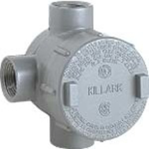 """Hubbell-Killark GESTT-4 Conduit Outlet Box, Type GEST, (3) 1-1/4"""" Hubs, Aluminum"""