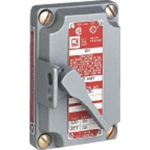 "Hubbell-Killark XS-42C Tumbler Switch Assembly, 20A, 2P, 1/2"" Hubs, Feed-Thru"
