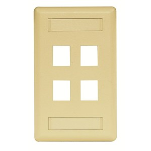 Hubbell-Premise IFP14EI Module Faceplate, 4-Port, 1-Gang, Electric Ivory, Labeling Window