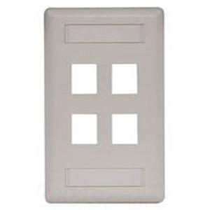 Hubbell-Premise IFP14OW Wallplate, 4-Port, 1-Gang, Keystone, Rear Load, Flush, Office White