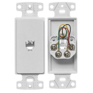 Hubbell-Premise NS770W Wallplate Insert, Decora, RJ11, 6P4C, White