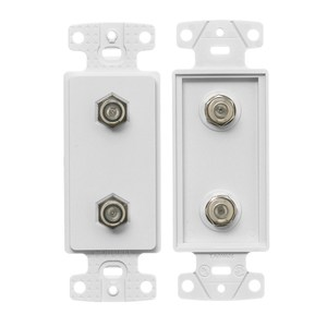 Hubbell-Premise NS782W Wallplate Insert, Decora, Duplex, F-Connector, White