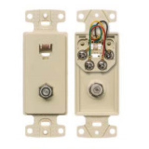 Hubbell-Premise NS783W Wallplate Insert, 2-Port, Telephone/Video, 6P6C, F-Connector, White