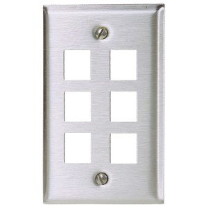 Hubbell-Premise SSF16 PLATE, WALL,SS,1-G,6PORT