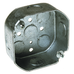 "Hubbell-Raco 125 4"" Octagon Box, 1-1/2 Deep, 1/2"" KOs, Drawn, Steel"
