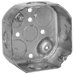 "Hubbell-Raco 127 4"" Octagon Box, 1-1/2"" Deep, 1/2"" & 3/4"" KOs, Drawn, Steel"