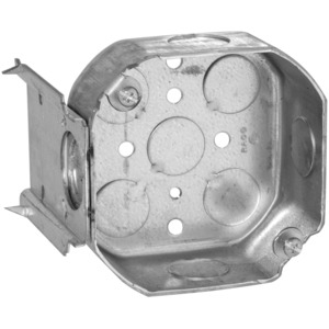 """Hubbell-Raco 158 4"""" Octagon Box, 1-1/2"""" Deep, with """"J"""" Bracket, Knockouts, Drawn,"""