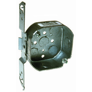 "Hubbell-Raco 161 4"" Octagon Box, 1-1/2"" Deep, TS Bracket, Drawn, Steel"