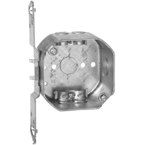 "Hubbell-Raco 177 4"" Octagon Box, 2-1/8"" Deep, NM Clamps, TS-Bracket, 1/2"" Kos, Steel"
