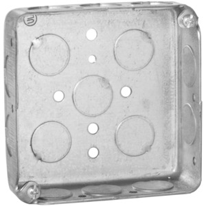 "Hubbell-Raco 185 4"" Square Box, Drawn, Metallic, 1-1/4"" Deep"