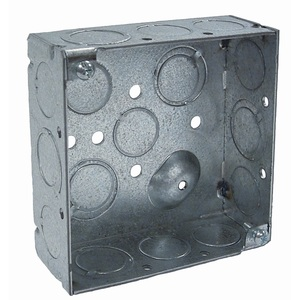 "Hubbell-Raco 189 4"" Square Box, Welded, Metallic, 1-1/2"" Deep"