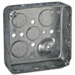 """Hubbell-Raco 192 4"""" Square Box, Drawn, Metallic, 1-1/2"""" Deep, NM Cable Clamps"""