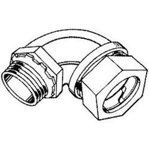 """Hubbell-Raco 2072 EMT Short Elbow, 90°, 1/2"""",Type Compression, Malleable Iron"""