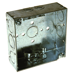 """Hubbell-Raco 211 4"""" Square Box, Welded, Metallic, 1-1/2"""" Deep, NM Cable Clamps"""