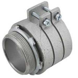 "Hubbell-Raco 2114 Flex Connector, 3-1/2"", Type: Squeeze, Malleable Iron"