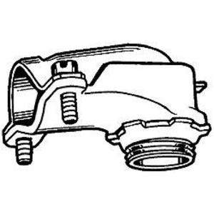 """Hubbell-Raco 2203 Flex Connector, 90°, Squeeze, Non-Insulated, 3/4"""", Malleable"""