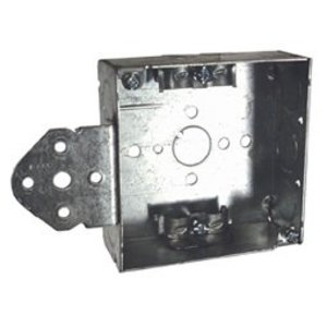 "Hubbell-Raco 225 4"" Square Box, Welded, Metallic, 1-1/2"" Deep, B Bracket"