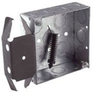 "Hubbell-Raco 227 4"" Square Box, Welded, Metallic, 1-1/2"" Deep, MS Bracket"