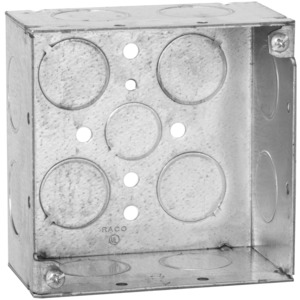 "Hubbell-Raco 231 4"" Square Box, Welded, Metallic, 2-1/8"" Deep"