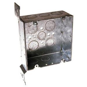 "Hubbell-Raco 254 4-11/16"" Square Box, Welded, Metallic, 2-1/8"" Deep, FM Bracket"