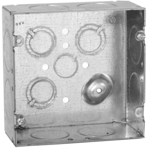 "Hubbell-Raco 258 4-11/16"" Square Box, Welded, Metallic, 2-1/8"" Deep"