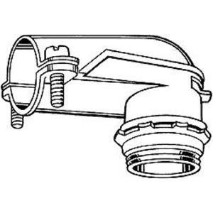 "Hubbell-Raco 2692 AC/Flex Connector, 1/2"", 90°, 2-Screw Clamp, Zinc Die Cast"