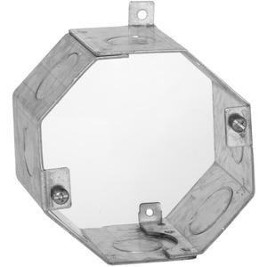 """Hubbell-Raco 271 Concrete Ring, 2-1/2"""" Deep, 1/2"""" & 3/4"""" KOs, Metallic"""